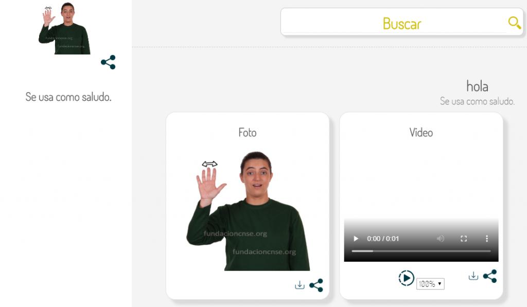 Página oficial del diccionario de lengua de signos española